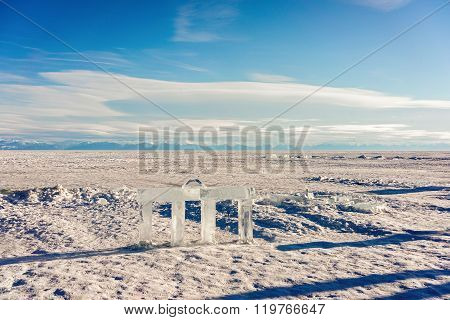 Tower Shape Ice Cube Sculpture On Frozen Baikal Lake