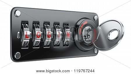 Black Combination Letter Lock For Your Website With Login, Key And Keyhole