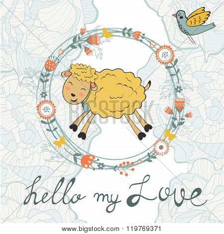 Cute jumping hand drawn sheep in floral wreath
