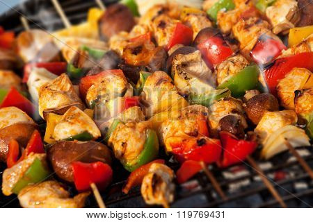 BBQ with kebab cooking.