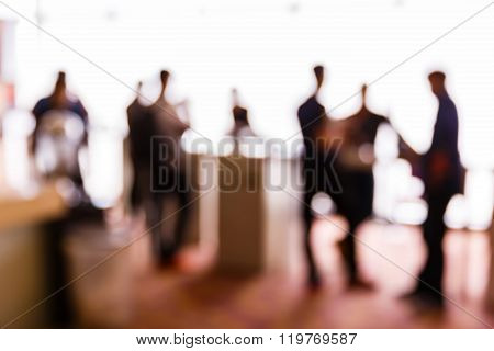 Blurred People In Press Conference Event