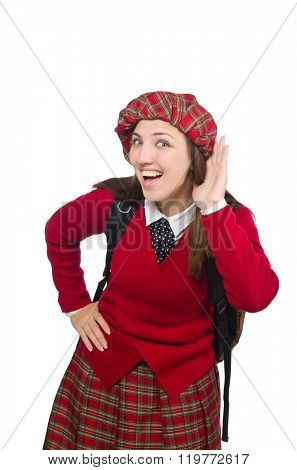 Girl in scottish tartan clothing isolated on white