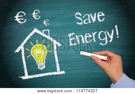 Save Energy - house with light bulb and euro symbols on green background