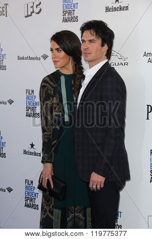 LOS ANGELES - FEB 27:  Nikki Reed, Ian Somerhalder at the 2016 Film Independent Spirit Awards at the Santa Monica Beach on February 27, 2016 in Santa Monica, CA