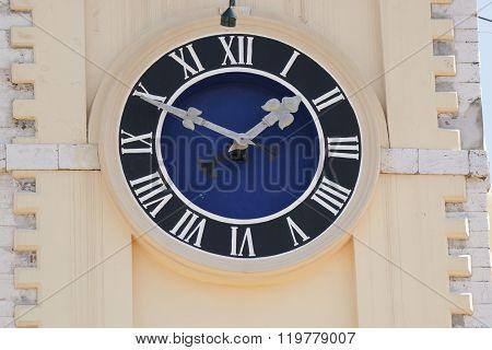 The Clock On The Town Hall In Corfu. Greece.