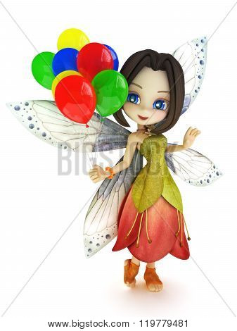 Cute toon fairy with wings smiling holding balloon's on a white isolated background