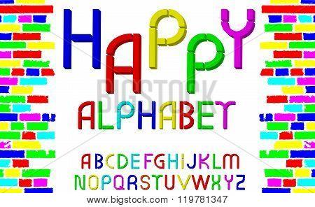 Vector Tridimensional Decorative Multicolor Font