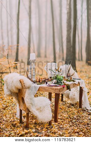 Table decorated in the scandinavian style with deer horns and pelts on chairs. Sunny day on the autu
