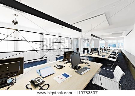 High rise functional contemporary modern business office conference room overlooking a city.
