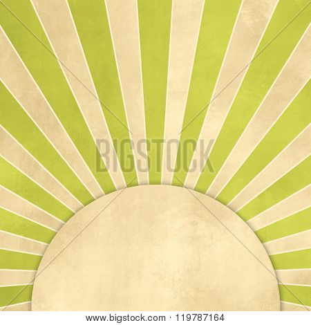 Starburst green retro with round label tag - abstract vintage background