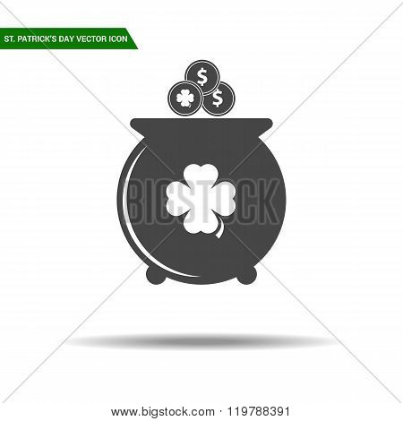 St Patricks Day pot with coins icon flat vector.