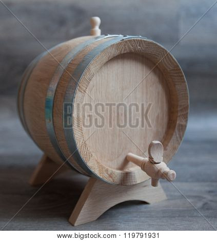 Closeup Of A Wooden Cask Of Wine.