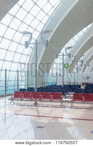 Dubai Uae Departure Waiting Area With Chairs