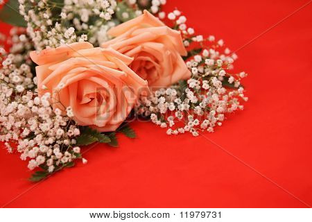 A bouquet of pink roses and baby's breath on a bright red background.  Room for text.