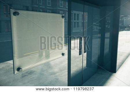 Blank Glassy Signboard On Glassy Wall Of Building, Mock Up, 3D Render