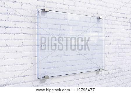 Blank Glassy Sighnboard On White Brick Wall, Mock Up