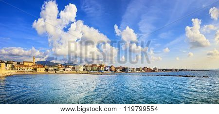 San Vincenzo Beach And Seafront Panoramic View. Tuscany, Italy.