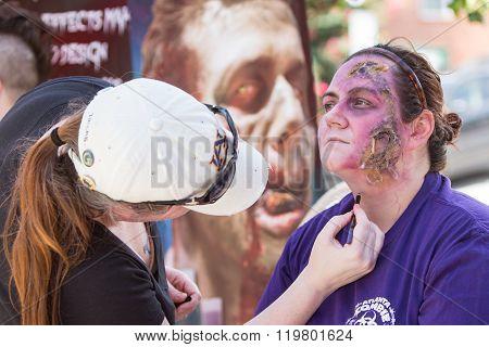 Woman Gets Realistic Zombie Makeup Before Atlanta Pub Crawl Event
