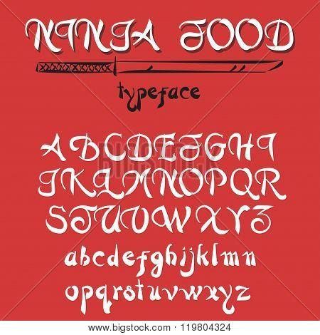 Vintage alphabet, hand drawn font.