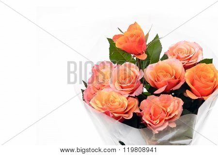 Bouquet Of Orange Roses.