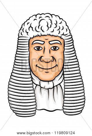 Cartoon old judge in white wig