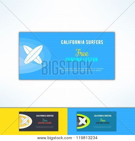 Vector surfing lesson ad flyer in modern flat design. Surf class advertising design element