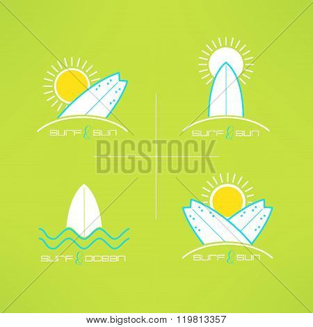 Set of vector surfing cards logo design made in modern clean and bright style. Surfboarding tshirt p