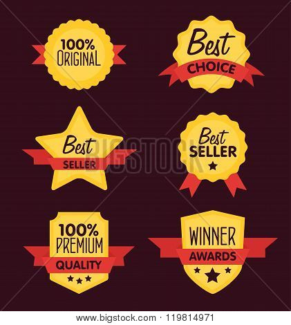 Flat vector badges set. Badges of best choice. Collection of different badges. Isolated badges. Best seller badges. Winner award badges. Premium quality badges. Badges with ribbon. Yelow badges with red ribbon. Badges icon. Special offer badges. Badges.