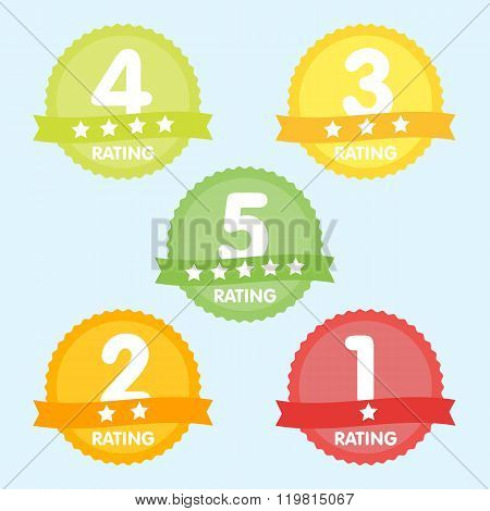 Rating label with five different label with star and place icon. Rating icon. Rating stars badges. Rating tags. Rating badges. Ribbon rating. Isolated rating elements. Rating sign vector icon. Ranking poster