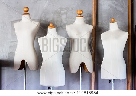 Mannequin Tailors In Storage Room With Vintage Filter