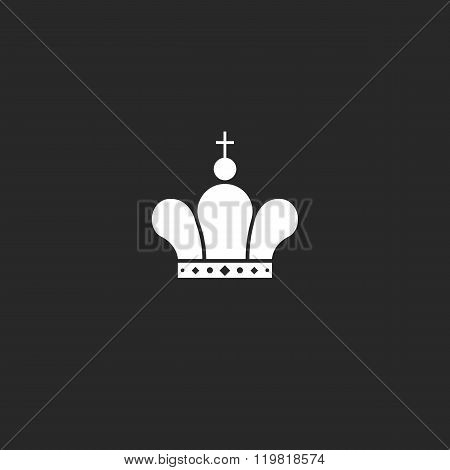 Icon Crown Logo Mockup Jewel, King Or Queen Royal Symbol, Black And White Vintage Design Element