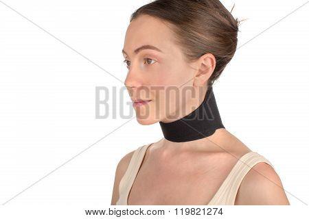 Woman wearing neck brace, bandage