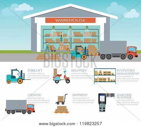 Infographic Of Warehouse Load Boxes And Pallet.