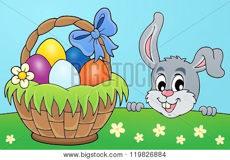 Decorative egg basket and lurking bunny - eps10 vector illustration.