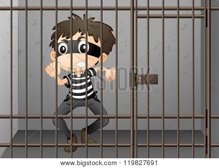 Criminal being locked up in the prison illustration