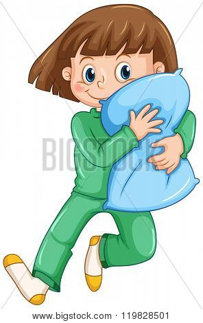Girl hugging pillow at slumber party illustration