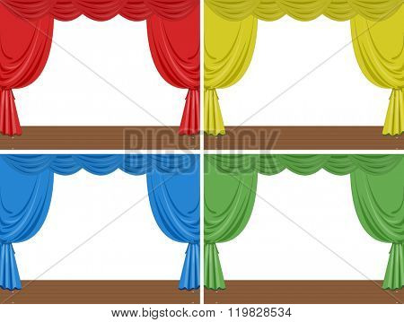 Four scenes of stage with different color curtains illustration