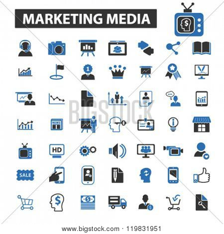 marketing media icons, marketing media logo, marketing media vector, marketing media flat illustration concept, marketing media infographics, marketing media symbols,