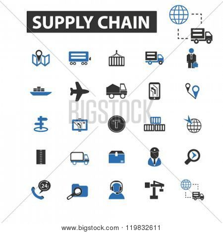 supply chain icons, supply chain logo, supply chain vector, supply chain flat illustration concept, supply chain infographics, supply chain symbols,