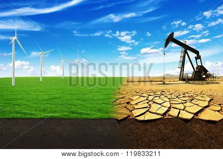 The Concept Of Green Energy Windmills In A Beautiful Field. Oil Pump In Sandy Field With Cracks. Ene