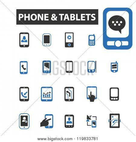 phone tablets icons, phone tablets logo, phone tablets vector, phone tablets flat illustration concept, phone tablets infographics, phone tablets symbols,