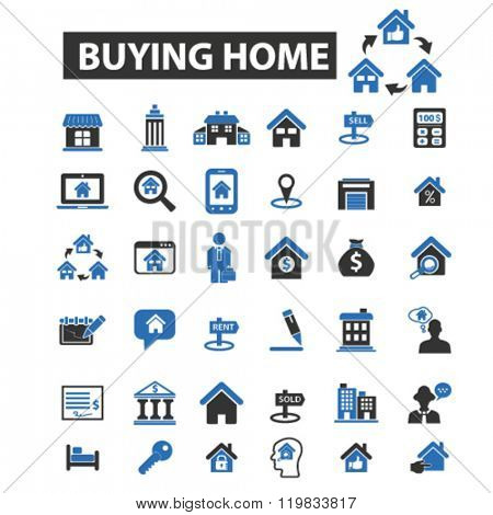 buying home icons, buying home logo, buying home vector, buying home flat illustration concept, buying home infographics, buying home symbols,