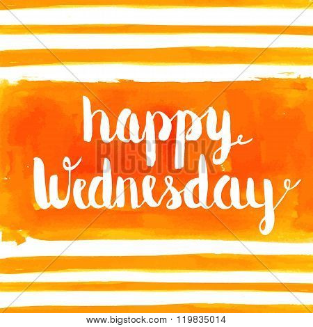 Happy Wednesday Watercolor Hand Paint Greeting Card