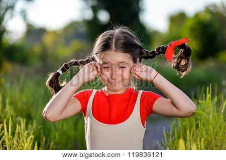 Crying Girl With Pigtails