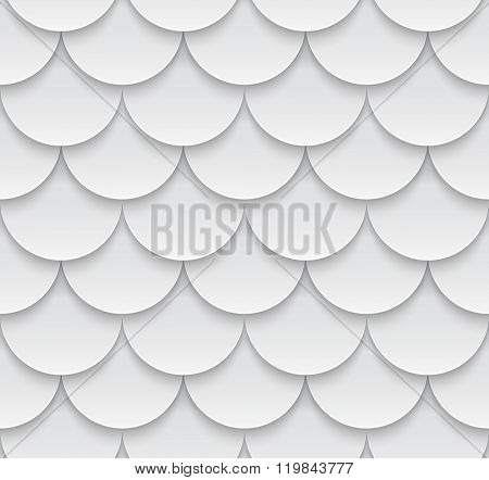 Vector seamless geometric pattern with 3D effect. White roof tiling.