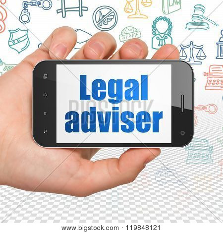 Law concept: Hand Holding Smartphone with Legal Adviser on display