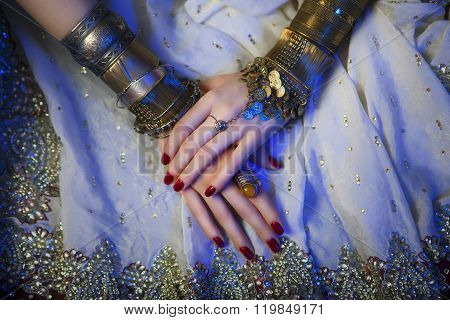 Bridal Oriental Jewelry And Accessories: Female Hands With India