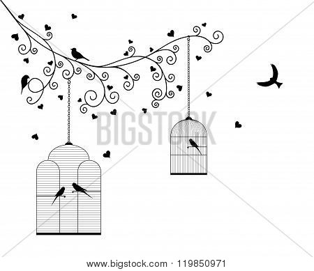 Vector illustration of curly blossom tree branches with hanging cages