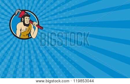 Business Card Neanderthal Caveman Plumber Monkey Wrench Circle Cartoon