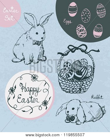 Vector Hand Drawn Set For Easter. Easter Rabbit, Decorated Eggs, Basket, Happy Easter Calligraphic T